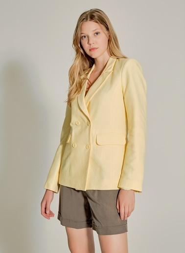 NGSTYLE Çift Düğmeli Keten Ceket Sarı